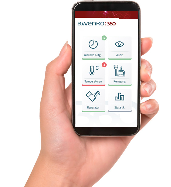 Awenko::360 APP QM Software auf Smartphone